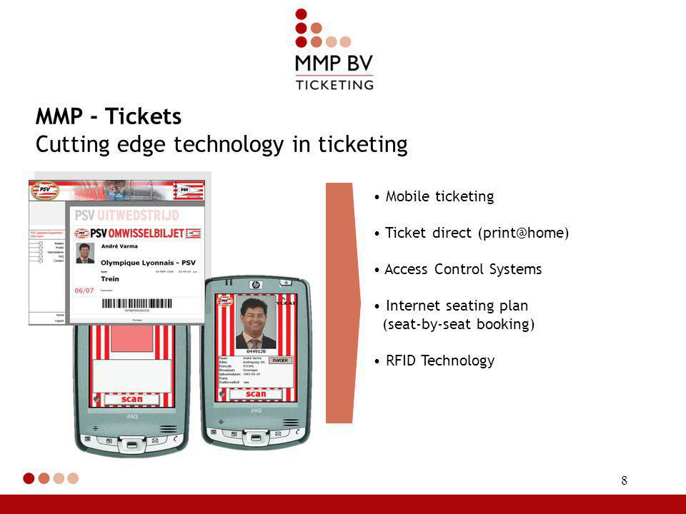8 Mobile ticketing Ticket direct (print@home) Access Control Systems Internet seating plan (seat-by-seat booking) RFID Technology MMP - Tickets Cutting edge technology in ticketing