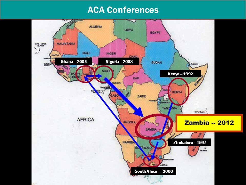 Kenya -- 1992 ACA Conferences Zimbabwe -- 1997 Ghana -- 2004Nigeria -- 2008 South Africa -- 2000 Zambia -- 2012