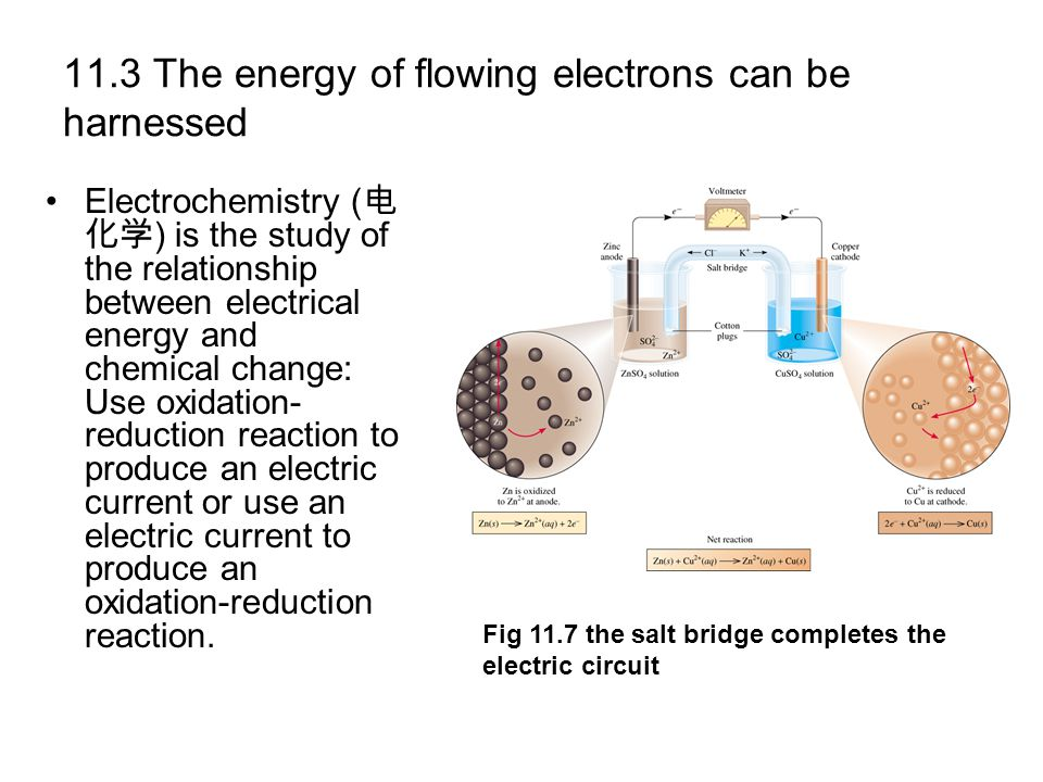 11.3 The energy of flowing electrons can be harnessed Electrochemistry ( ) is the study of the relationship between electrical energy and chemical cha
