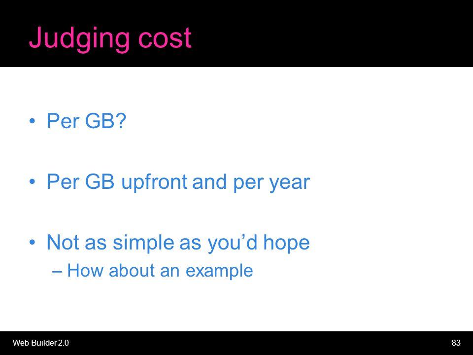 Web Builder 2.083 Judging cost Per GB.