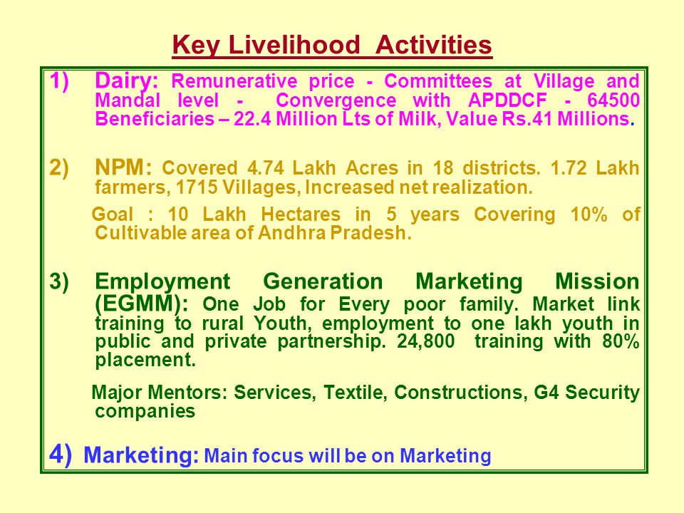 Key Livelihood Activities 1)Dairy: Remunerative price - Committees at Village and Mandal level - Convergence with APDDCF - 64500 Beneficiaries – 22.4 Million Lts of Milk, Value Rs.41 Millions.