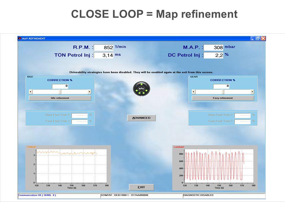 Correction at idle Correction at medium and high power OBD parameters bank 1 OBD parameters bank 2 CLOSE LOOP = Map refinement