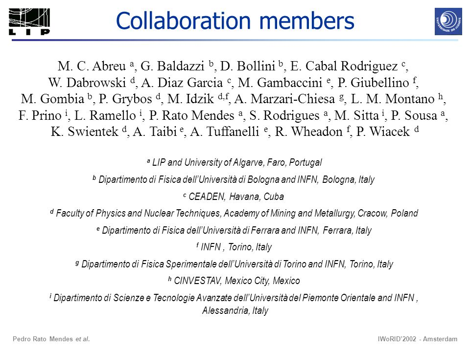 IWoRID2002 - AmsterdamPedro Rato Mendes et al. Collaboration members M.