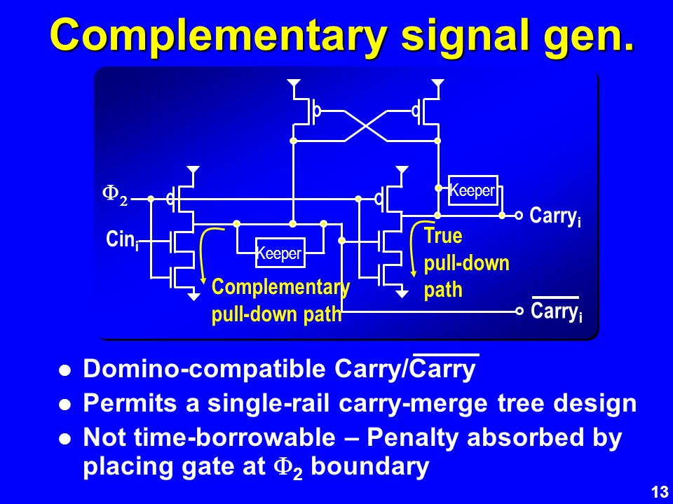 13 Complementary signal gen. Domino-compatible Carry/Carry Permits a single-rail carry-merge tree design Not time-borrowable – Penalty absorbed by pla