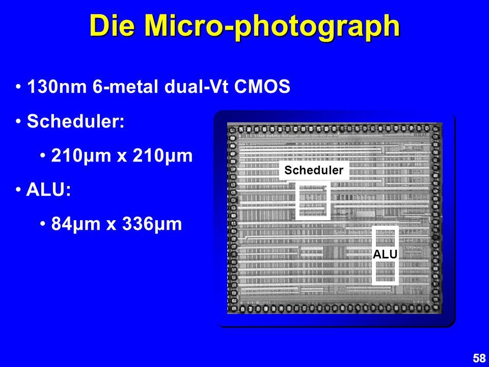 58 Die Micro-photograph 130nm 6-metal dual-Vt CMOS Scheduler: 210μm x 210μm ALU: 84μm x 336μm Scheduler ALU