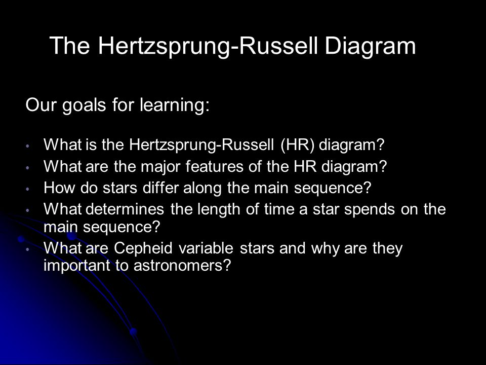 The Hertzsprung-Russell Diagram What is the Hertzsprung-Russell (HR) diagram? What are the major features of the HR diagram? How do stars differ along