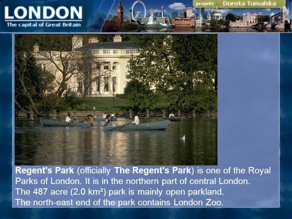 Regent's Park (officially The Regent's Park) is one of the Royal Parks of London. It is in the northern part of central London. The 487 acre (2.0 km²)