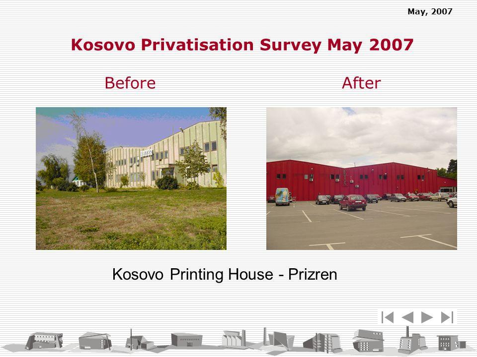 May, 2007 Kosovo Privatisation Survey May 2007 Before After Kosovo Printing House - Prizren