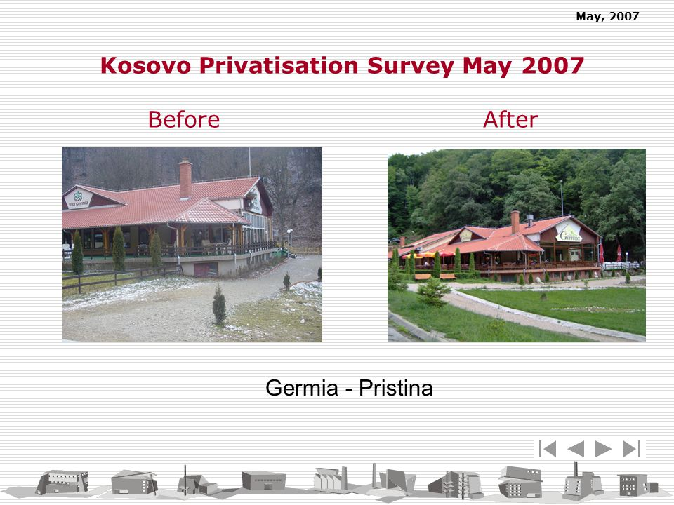 May, 2007 Germia - Pristina Kosovo Privatisation Survey May 2007 Before After