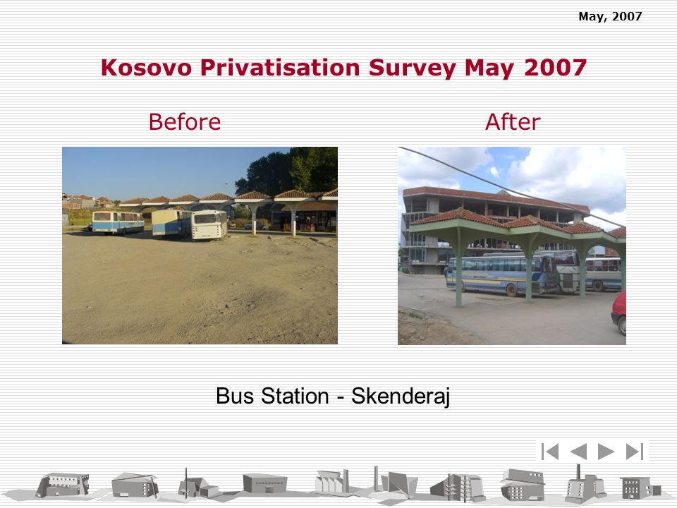 May, 2007 Bus Station - Skenderaj Kosovo Privatisation Survey May 2007 Before After