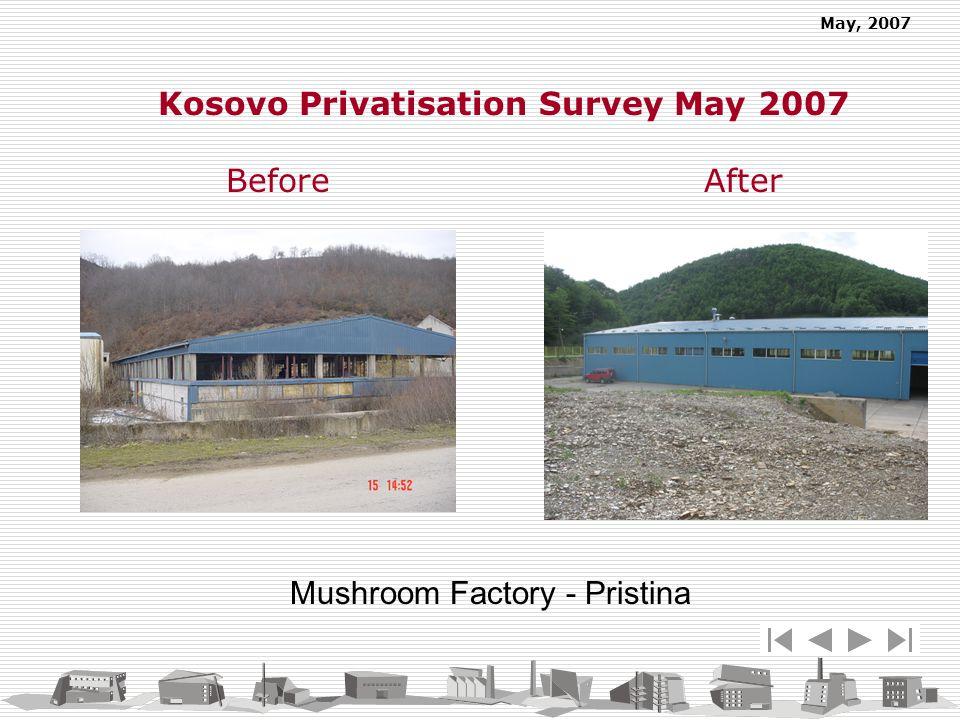 May, 2007 Mushroom Factory - Pristina Kosovo Privatisation Survey May 2007 Before After