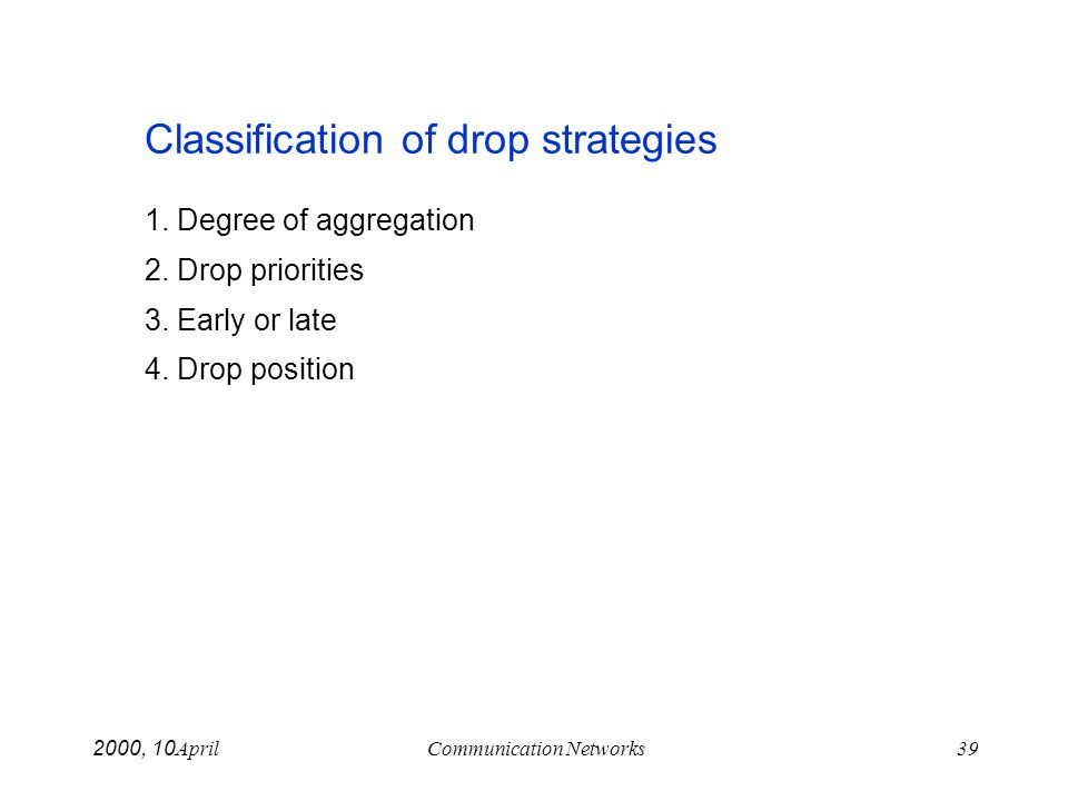 April 10, 2000Communication Networks39 Classification of drop strategies 1. Degree of aggregation 2. Drop priorities 3. Early or late 4. Drop position