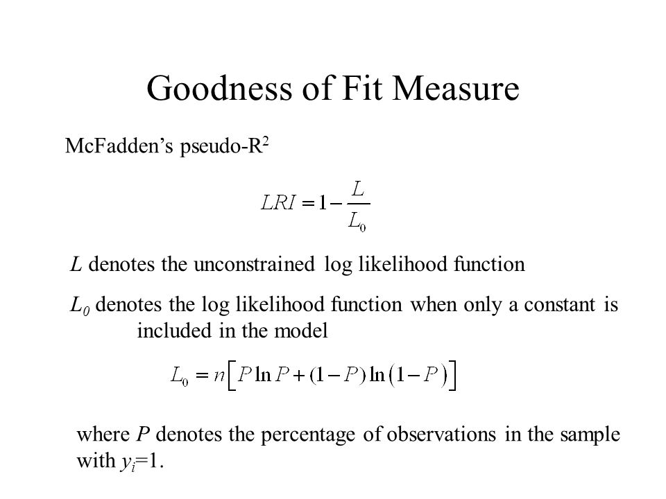 Goodness of Fit Measure McFaddens pseudo-R 2 L 0 denotes the log likelihood function when only a constant is included in the model L denotes the unconstrained log likelihood function where P denotes the percentage of observations in the sample with y i =1.