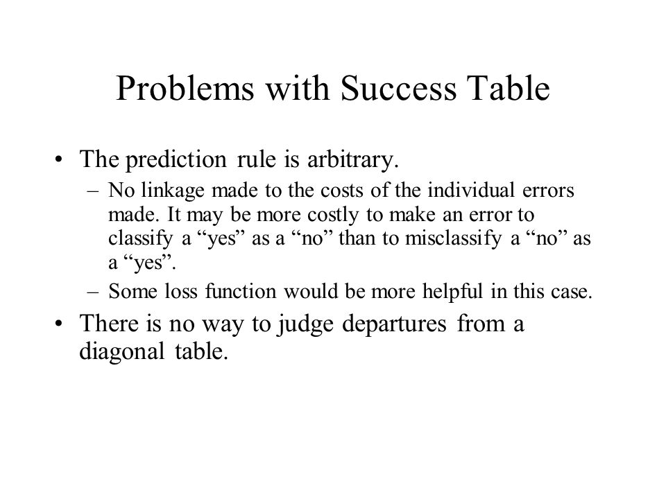 Problems with Success Table The prediction rule is arbitrary.
