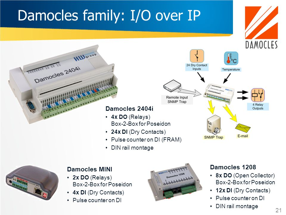 Damocles family: I/O over IP Damocles 2404i 4x DO (Relays) Box-2-Box for Poseidon 24x DI (Dry Contacts) Pulse counter on DI (FRAM) DIN rail montage Da