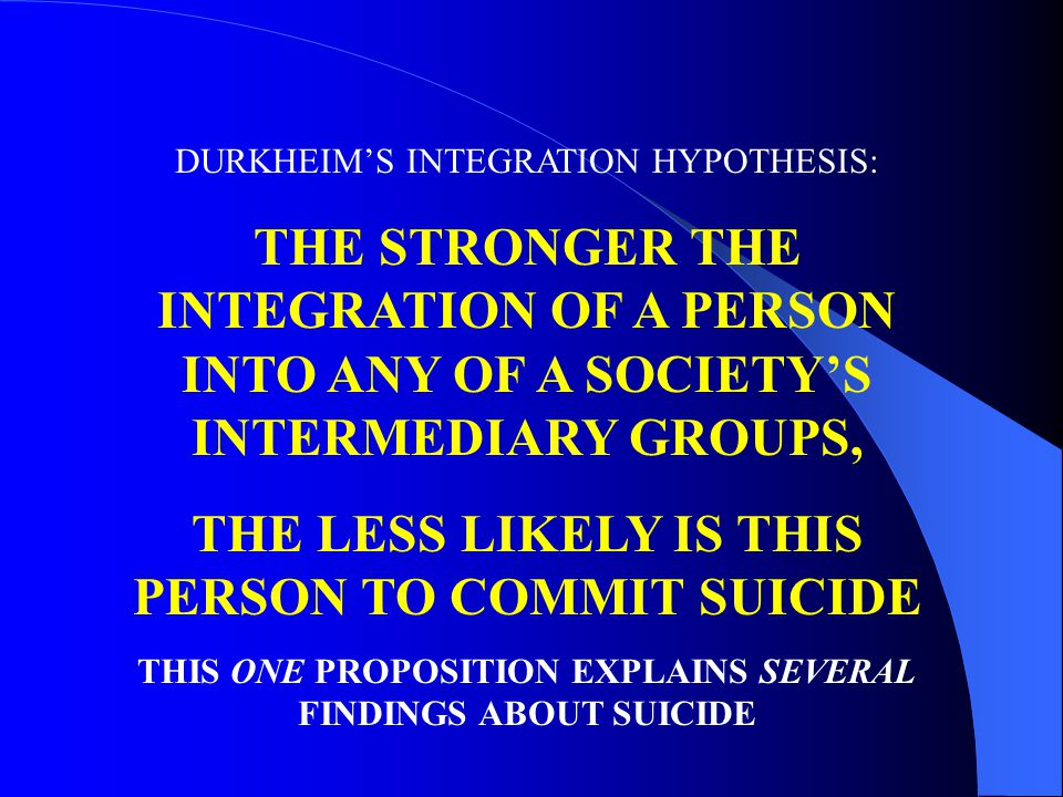 DURKHEIMS INTEGRATION HYPOTHESIS: THE STRONGER THE INTEGRATION OF A PERSON INTO ANY OF A SOCIETYS INTERMEDIARY GROUPS, THE LESS LIKELY IS THIS PERSON TO COMMIT SUICIDE THIS ONE PROPOSITION EXPLAINS SEVERAL FINDINGS ABOUT SUICIDE