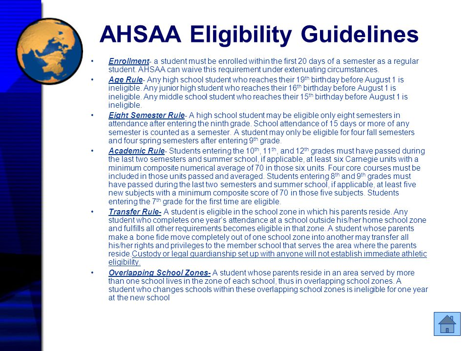 AHSAA Eligibility Guidelines Enrollment- a student must be enrolled within the first 20 days of a semester as a regular student. AHSAA can waive this