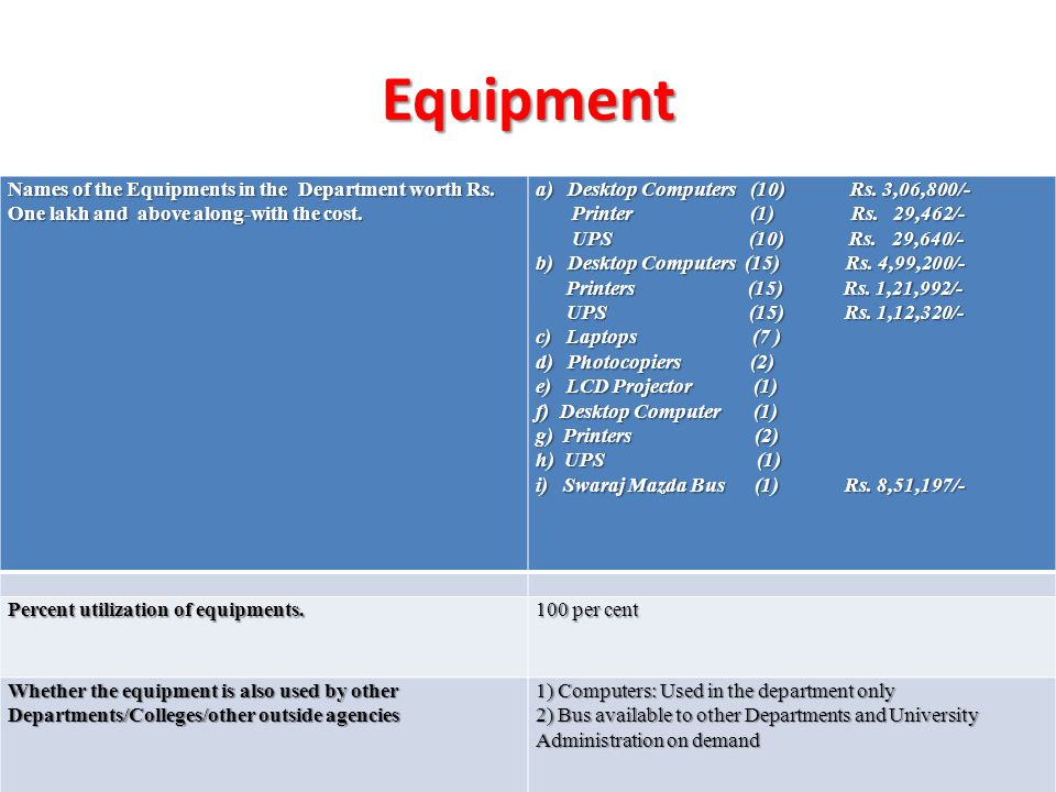 Equipment Names of the Equipments in the Department worth Rs.