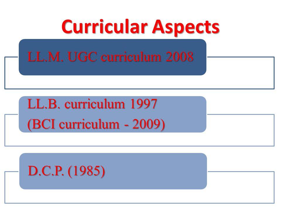 Curricular Aspects LL.M. UGC curriculum 2008 LL.B.
