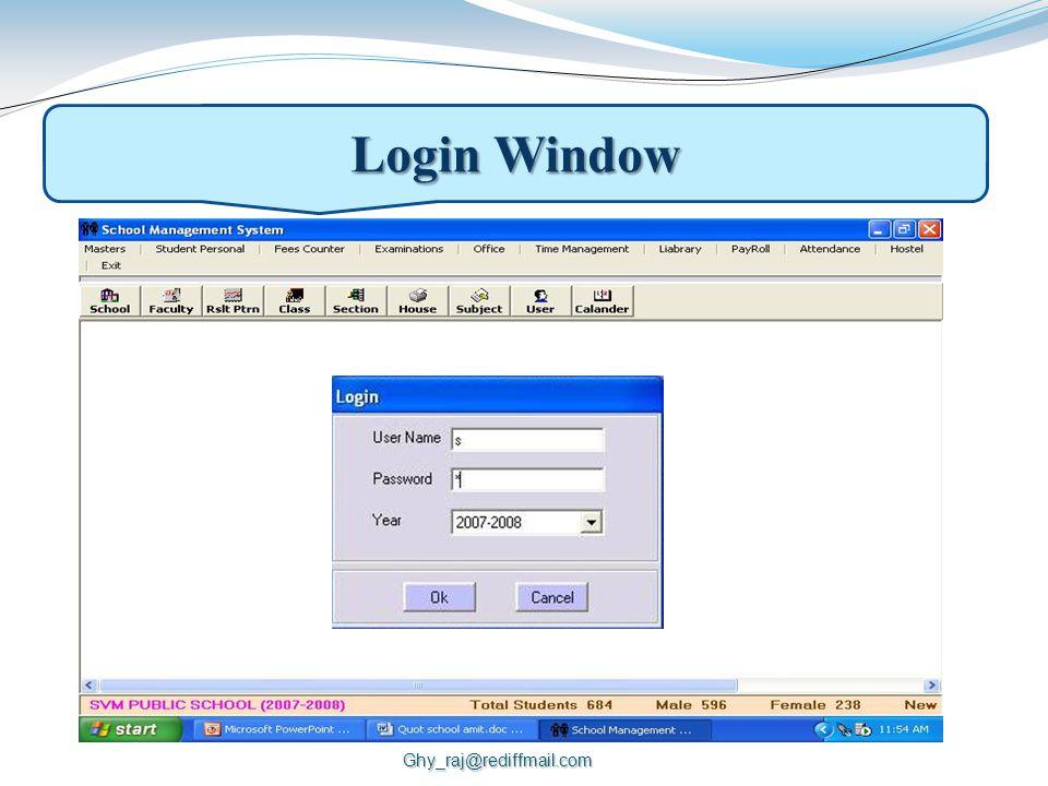 Login Window Ghy_raj@rediffmail.com