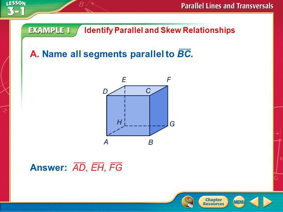 Example 1 Identify Parallel and Skew Relationships Answer: AD, EH, FG A.