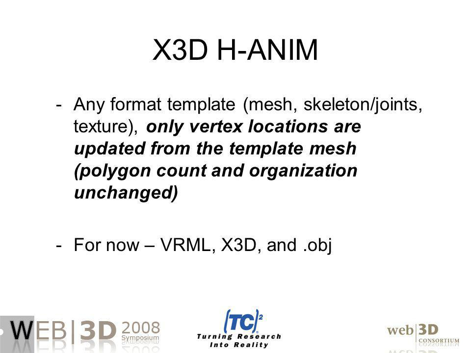 X3D H-ANIM -Any format template (mesh, skeleton/joints, texture), only vertex locations are updated from the template mesh (polygon count and organization unchanged) -For now – VRML, X3D, and.obj