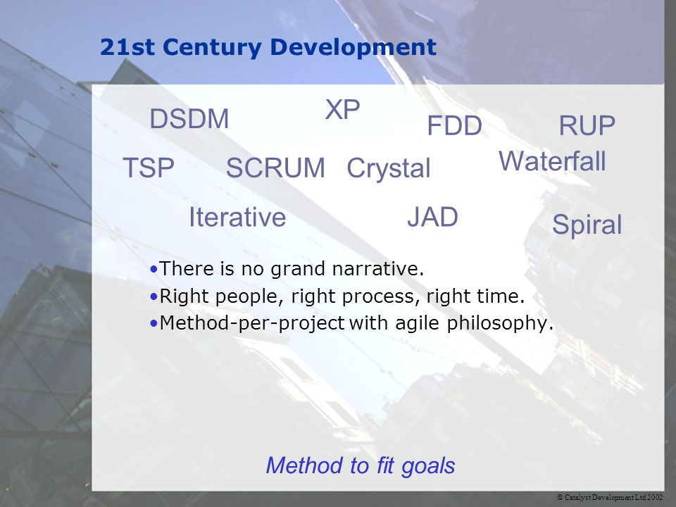 © Catalyst Development Ltd 2002 21st Century Development There is no grand narrative. Right people, right process, right time. Method-per-project with