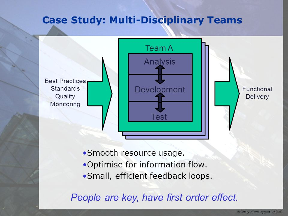 © Catalyst Development Ltd 2002 Case Study: Multi-Disciplinary Teams Smooth resource usage.