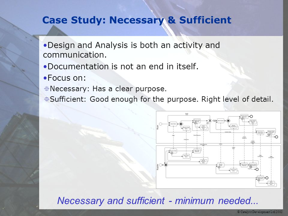 © Catalyst Development Ltd 2002 Case Study: Necessary & Sufficient Design and Analysis is both an activity and communication.