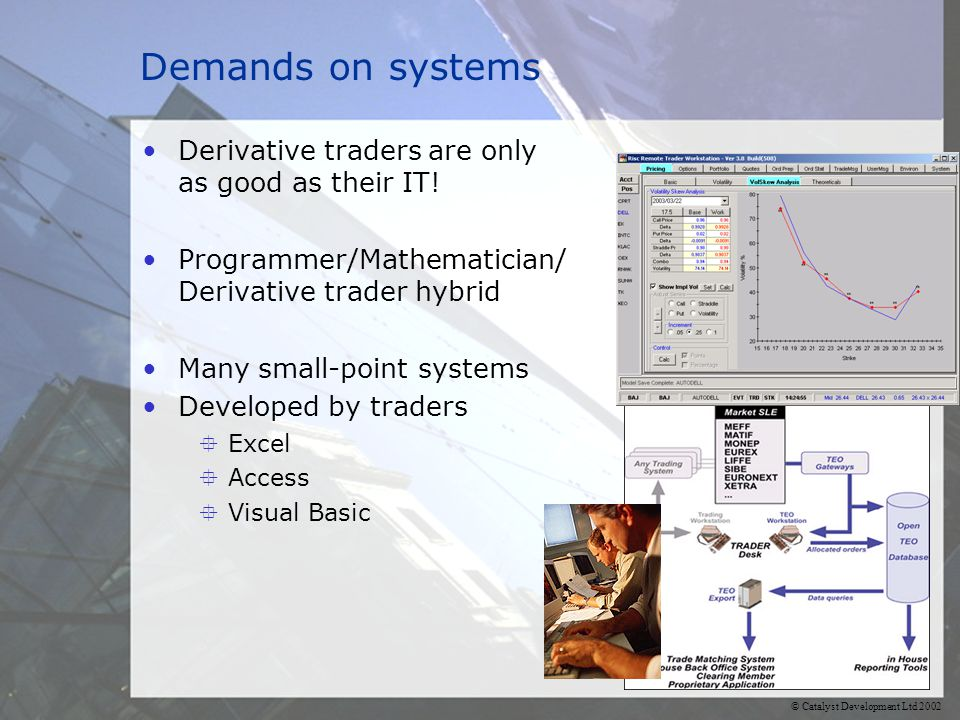 © Catalyst Development Ltd 2002 Demands on systems Derivative traders are only as good as their IT.