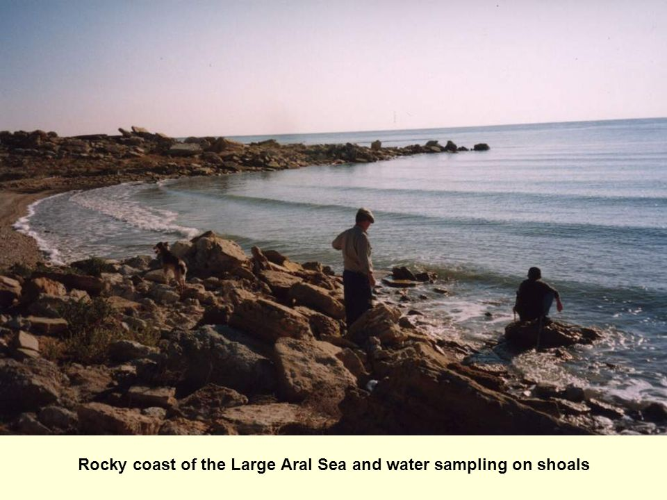 Rocky coast of the Large Aral Sea and water sampling on shoals
