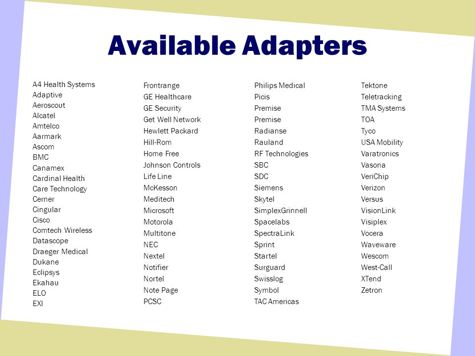 Available Adapters A4 Health Systems Adaptive Aeroscout Alcatel Amtelco Aarmark Ascom BMC Canamex Cardinal Health Care Technology Cerner Cingular Cisc