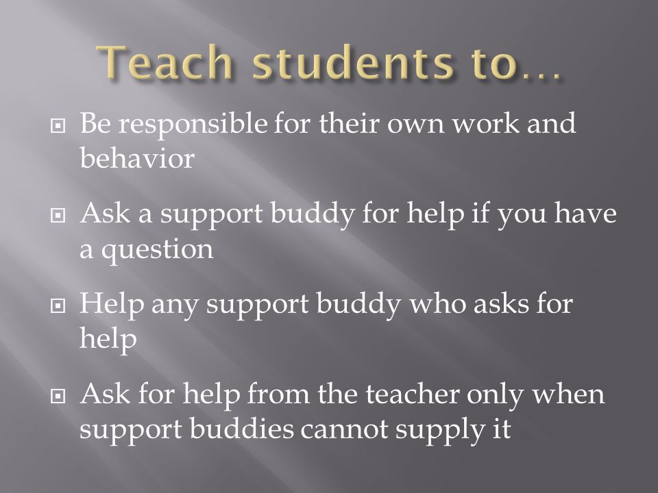 Be responsible for their own work and behavior Ask a support buddy for help if you have a question Help any support buddy who asks for help Ask for help from the teacher only when support buddies cannot supply it