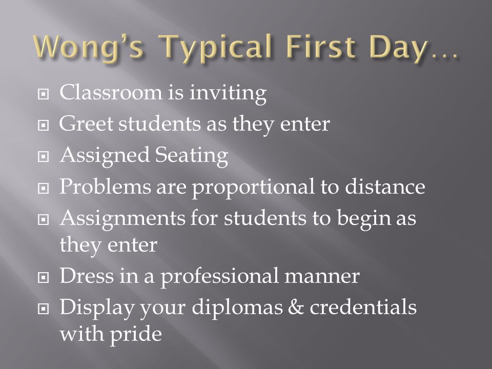 Classroom is inviting Greet students as they enter Assigned Seating Problems are proportional to distance Assignments for students to begin as they enter Dress in a professional manner Display your diplomas & credentials with pride