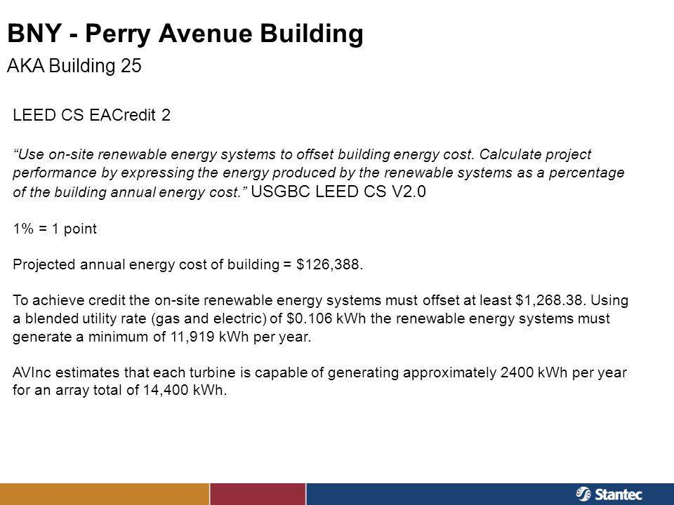 BNY - Perry Avenue Building AKA Building 25 LEED CS EACredit 2 Use on-site renewable energy systems to offset building energy cost. Calculate project