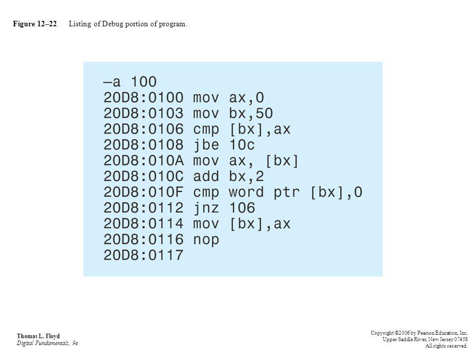 Figure 12–22 Listing of Debug portion of program. Thomas L. Floyd Digital Fundamentals, 9e Copyright ©2006 by Pearson Education, Inc. Upper Saddle Riv