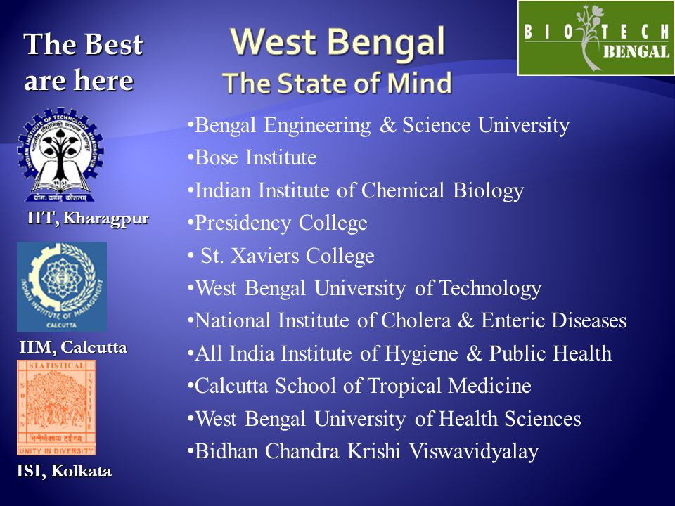 The Best are here The Best are here ISI, Kolkata ISI, Kolkata IIT, Kharagpur IIM, Calcutta Bengal Engineering & Science University Bose Institute Indi