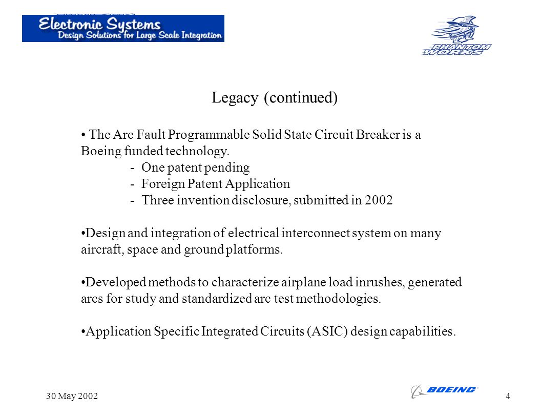 30 May 20024 The Arc Fault Programmable Solid State Circuit Breaker is a Boeing funded technology. - One patent pending - Foreign Patent Application -