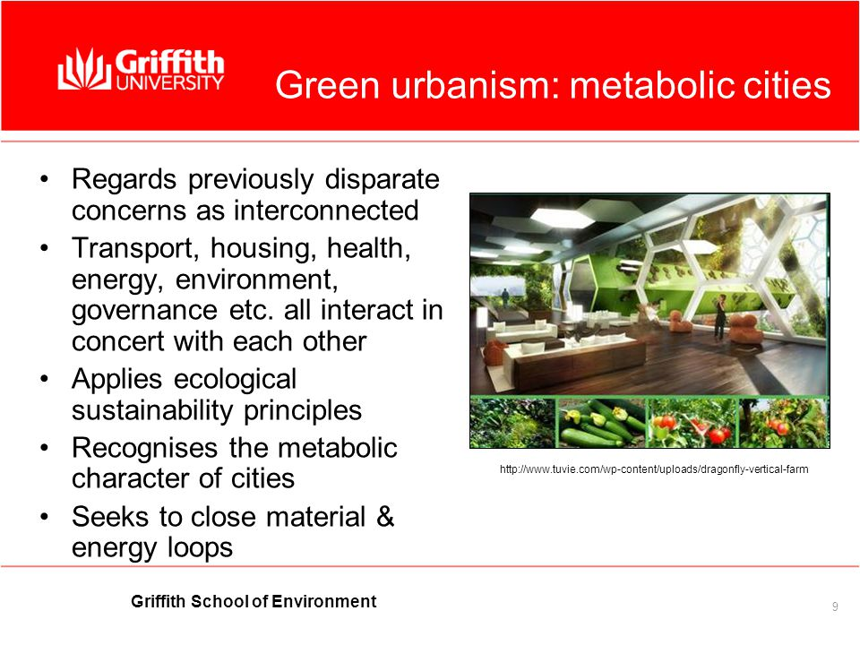 Griffith School of Environment 9 Green urbanism: metabolic cities Regards previously disparate concerns as interconnected Transport, housing, health, energy, environment, governance etc.