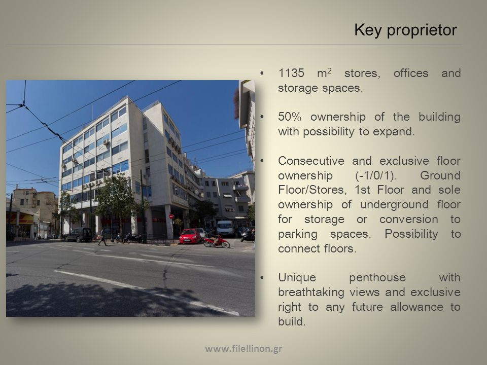 Key proprietor 1135 m 2 stores, offices and storage spaces.