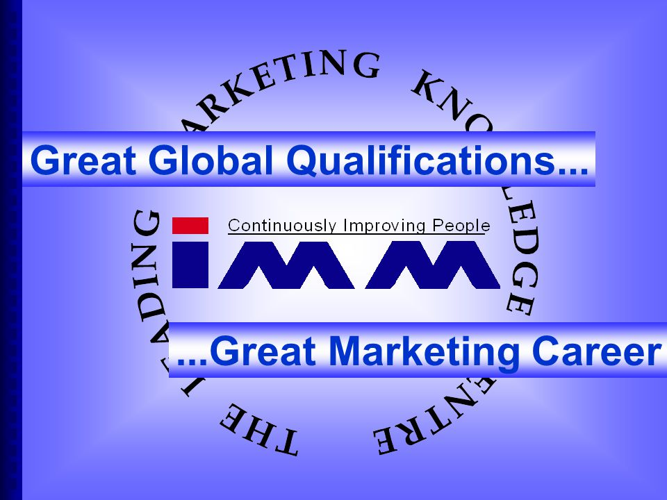 Great Global Qualifications......Great Marketing Career