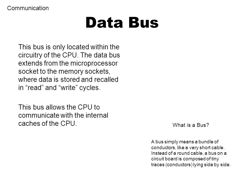 Control Bus Communication The control bus is the connections that transfer control data and commands from the CPU to other components.