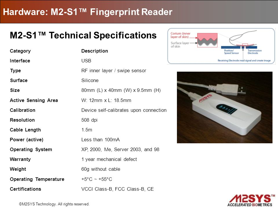 Hardware: M2-S1 Fingerprint Reader ©M2SYS Technology. All rights reserved. M2-S1 Technical Specifications CategoryDescription InterfaceUSB TypeRF inne
