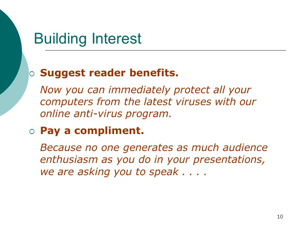 10 Building Interest Suggest reader benefits.