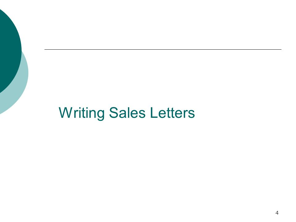 4 Writing Sales Letters