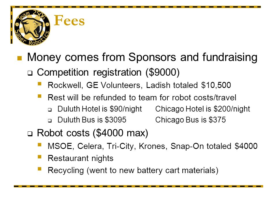 Fees Money comes from Sponsors and fundraising Competition registration ($9000) Rockwell, GE Volunteers, Ladish totaled $10,500 Rest will be refunded to team for robot costs/travel Duluth Hotel is $90/night Chicago Hotel is $200/night Duluth Bus is $3095Chicago Bus is $375 Robot costs ($4000 max) MSOE, Celera, Tri-City, Krones, Snap-On totaled $4000 Restaurant nights Recycling (went to new battery cart materials)