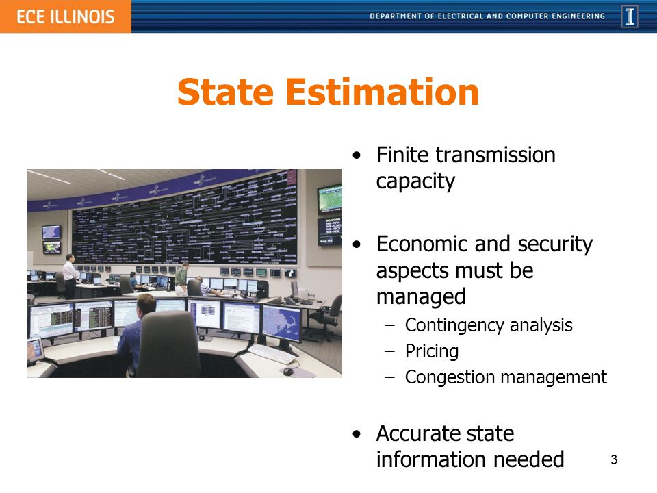 State Estimation Finite transmission capacity Economic and security aspects must be managed – Contingency analysis – Pricing – Congestion management A