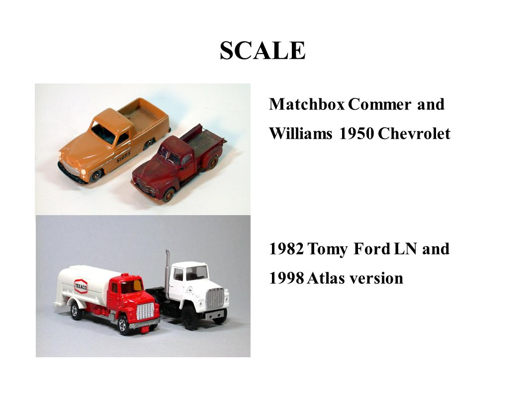 SCALE Matchbox Commer and Williams 1950 Chevrolet 1982 Tomy Ford LN and 1998 Atlas version