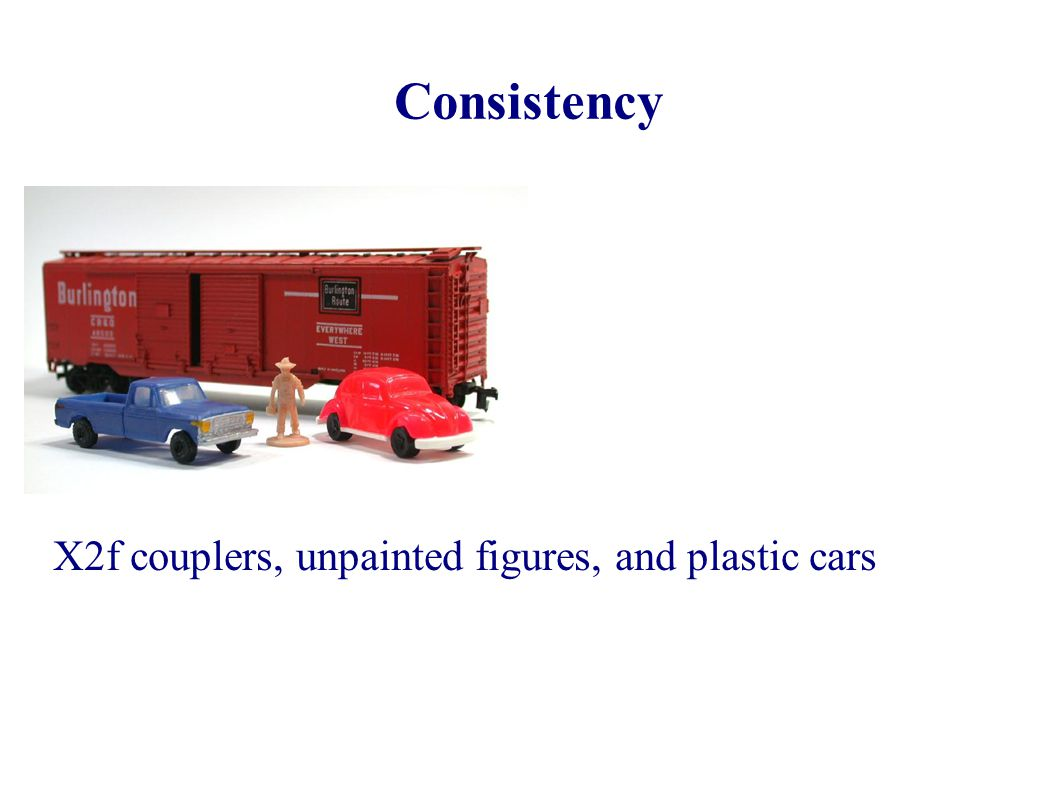 Consistency X2f couplers, unpainted figures, and plastic cars