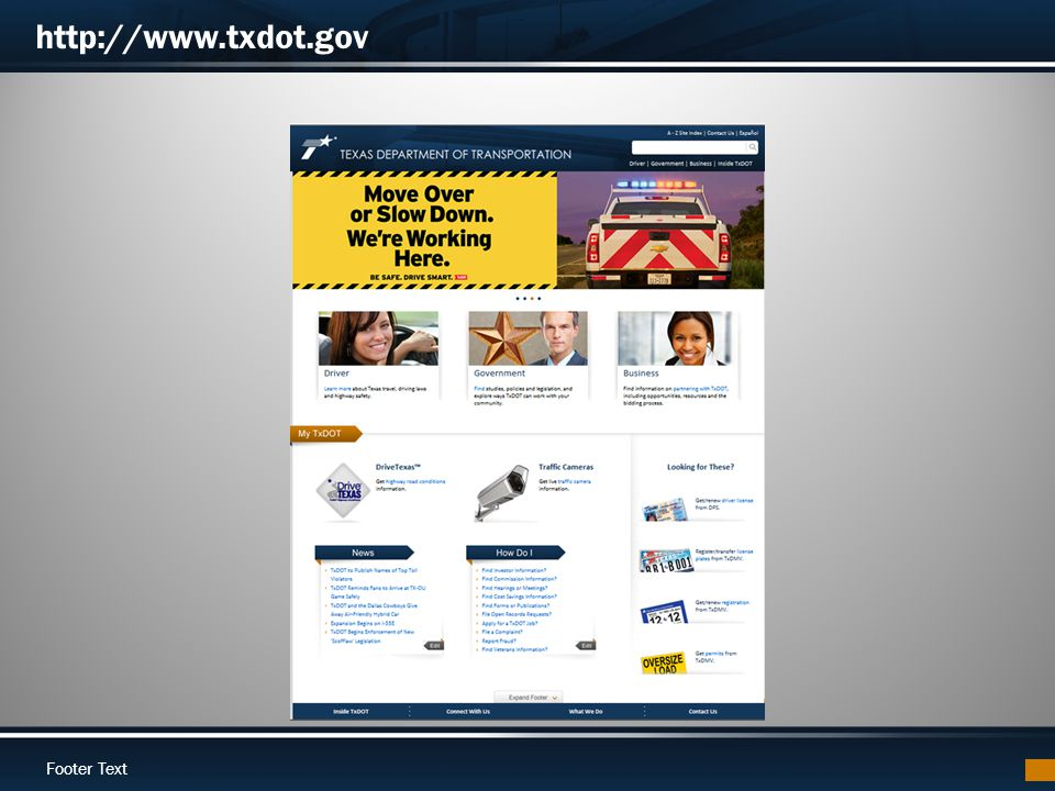 Footer Text http://www.txdot.gov